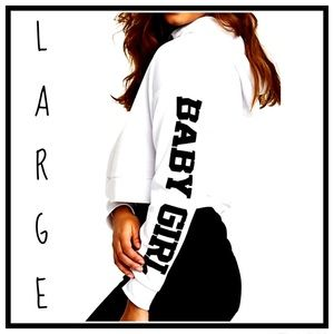 Large Babygirl Sweatshirt Hoodie Crop Top New